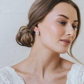 Boucles d'oreilles mariage cristal Swarovski plaquées or rose « Mélanie »