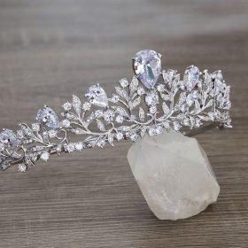 Diadème serre-tête mariage champêtre garni de diamants Pauline