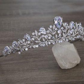 Diadème serre-tête mariage garni de diamants Pauline
