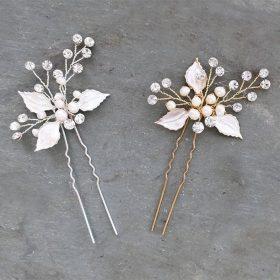 Pics chignon mariage feuilles perles et strass Laura