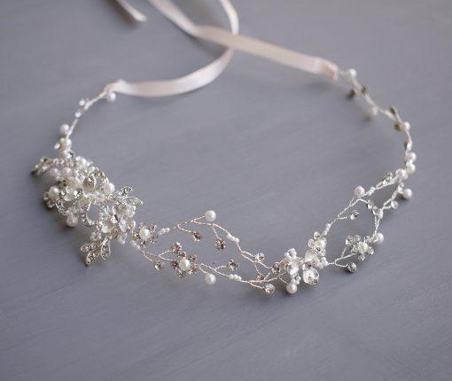 Vigne cheveux mariage perles cristal
