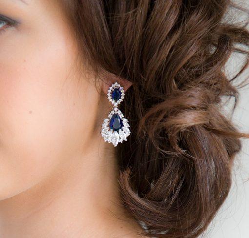 boucles oreilles mariage bleu fonce
