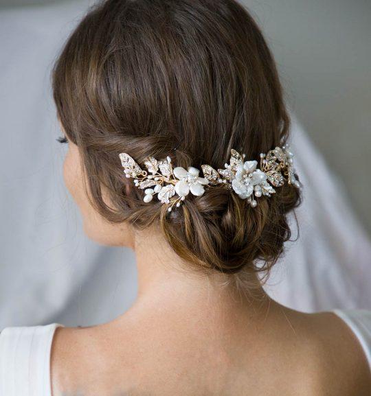 Peigne cheveux mariage bohème dore perles cristal 3