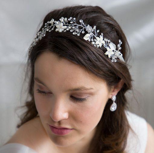 vigne cheveux mariage fleurs argenté 2