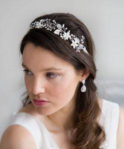 vigne cheveux mariage fleurs argenté