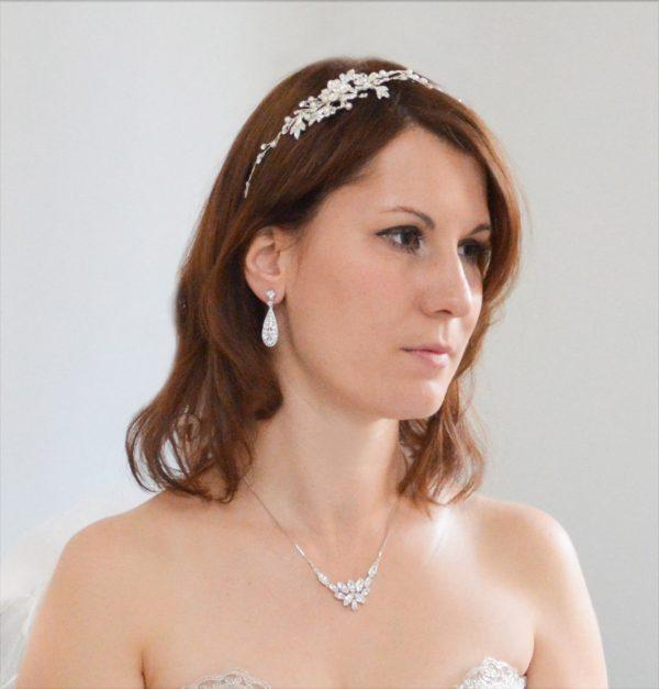 Vigne cheveux mariage perles cristal 3