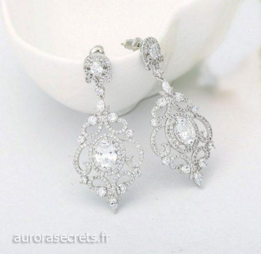 Boucles d'oreille chandelier mariage ornées oxydes de zirconium boucles pendantes argentées luxe