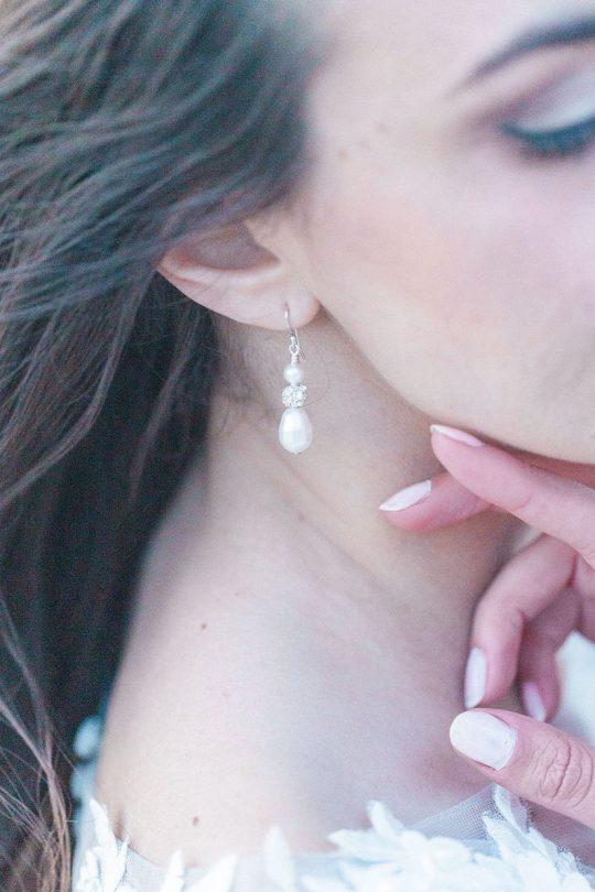 Boucles d'oreilles mariage perles strass