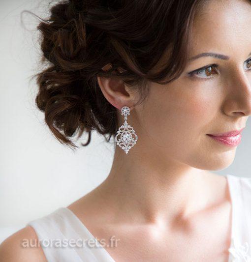 Boucles d'oreille chandelier mariage ornées oxydes de zirconium boucles pendantes argentées
