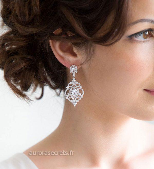 Boucles d'oreille chandelier mariage ornées oxydes de zirconium