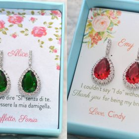 bijoux mariage, boucles d'oreilles vert rouge clair