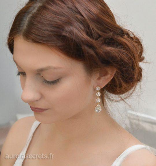 Boucles d'oreille mariage dorées
