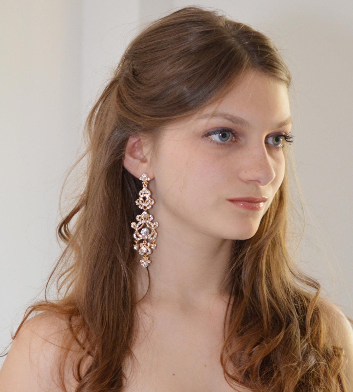 boucles d'oreilles mariage plaqué or au charme rétro, bijoux vintage
