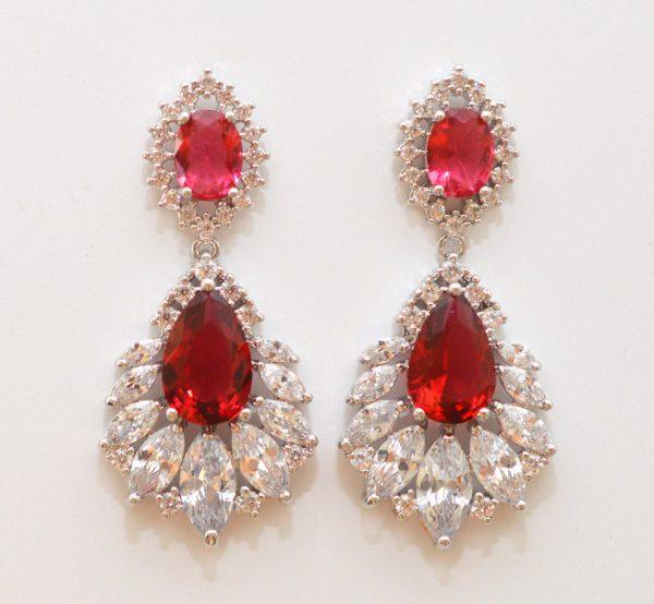 boucles d'oreilles mariage colorées rouge
