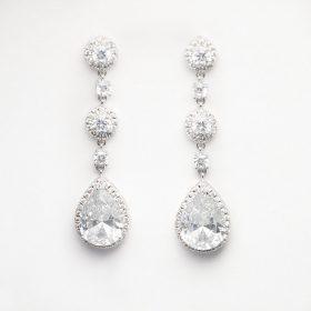 Boucles oreilles mariage longues diamants de synthèse