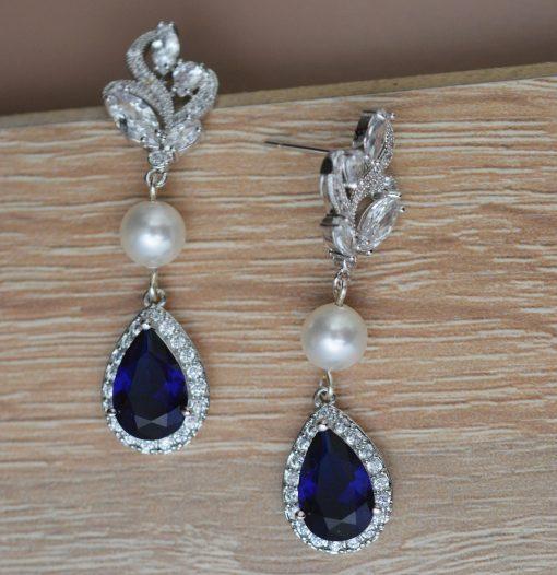boucles d'oreilles mariage originales bleu 2