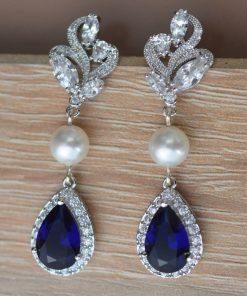 boucles d'oreilles mariage originales bleu