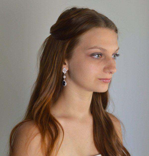 boucles d'oreilles mariage originales bleu 3