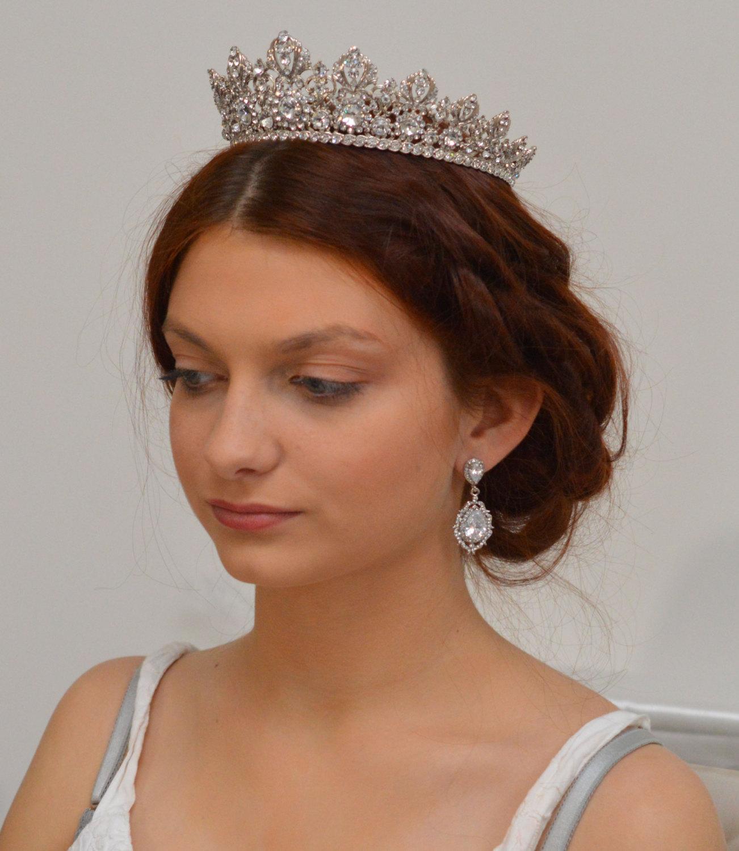 boucles d'oreilles mariage rétro cristal zircon, bijoux vintage