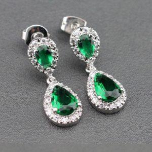 boucles d'oreilles mariage vert émeraude