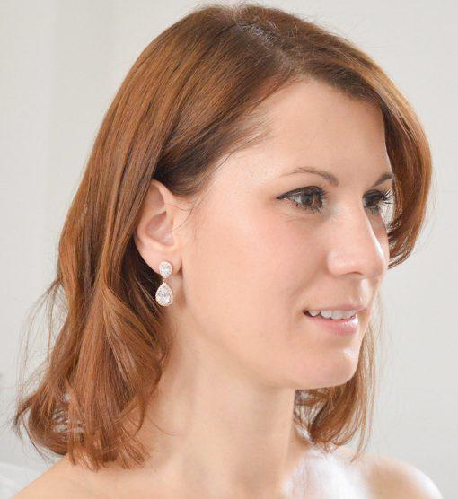 boucles oreilles mariée goutte d'eau or rose 3