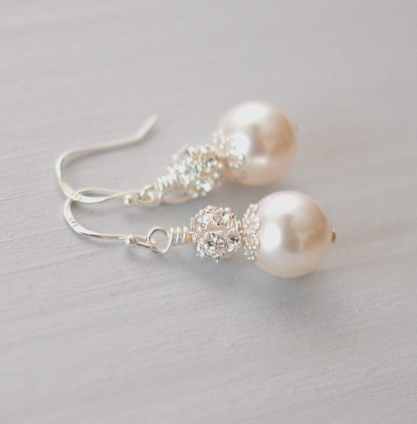boucles oreilles perle swarovski strass