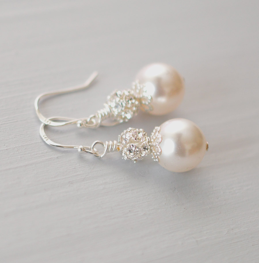 Boucles d'oreilles mariage perle Swarovski strass
