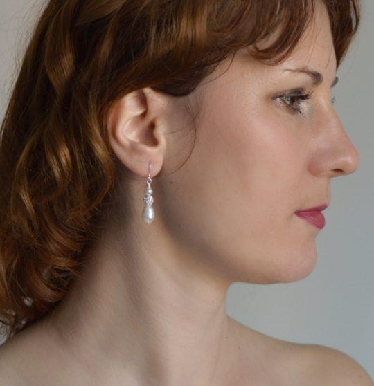 boucles oreilles perles nacrées strass 2