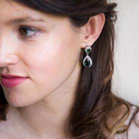 """Boucles d'oreilles mariage vert émeraude en forme de goutte d'eau """"Jana"""""""