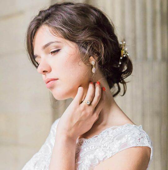 Boucles d'oreilles mariage Swarovski en forme de poire Giselle