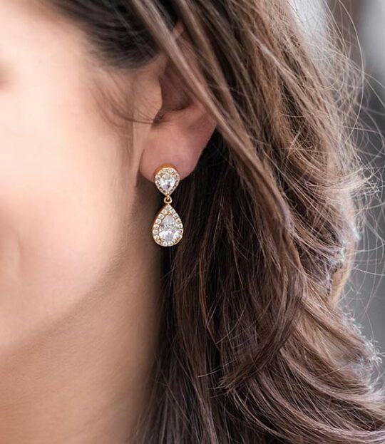 Boucles d'oreilles mariage Swarovski en forme de poire Giselle dorées