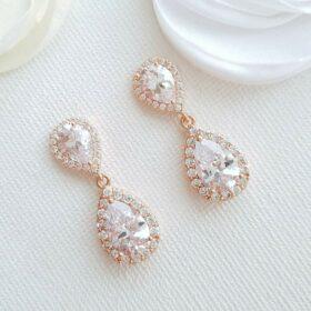 Boucles d'oreilles mariage Swarovski en forme de poire Giselle rose gold