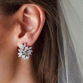 Boucles d'oreilles mariage chic argentées strass Evelyne
