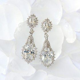 Boucles d'oreilles mariage chandelier diamants zircon 4