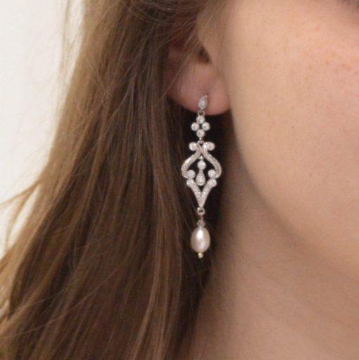 boucles d'oreilles mariage perles naturelles vintage aurelia