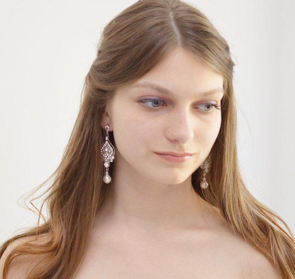 boucles d'oreilles mariée vintage chandelier 3