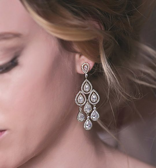 "Boucles d'oreilles mariage luxe chandelier ""Caroll"""
