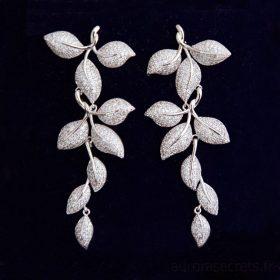 boucles d'oreilles pour mariée motif feuilles incrustées Oxydes de Zirconium