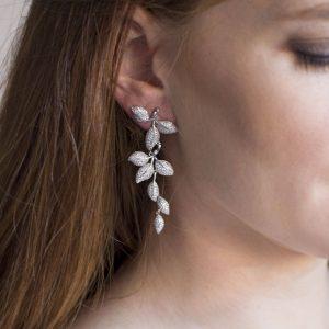boucles d'oreilles mariage feuilles élégantes