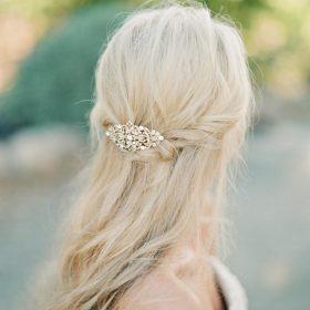 Peigne de cheveux mariée cristal finition argentée vintage Elsa
