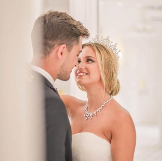Couronne mariage Swarovski cristal diadème royale argent ou doré Adriana
