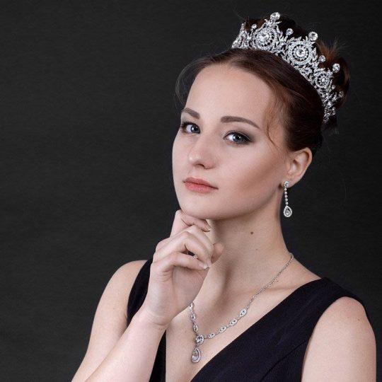 Couronne mariage Swarovski cristal diadème royal argent ou doré Adriana