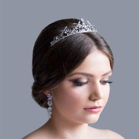 Diadème mariage feuilles couronne boho Swarovski argenté