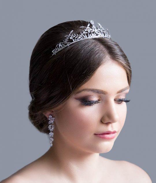 Diadème mariage feuilles couronne boho Swarovski argenté Roxane