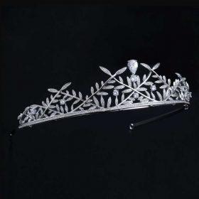 Diadème mariage feuilles couronne boho Swarovski argenté « Roxane »