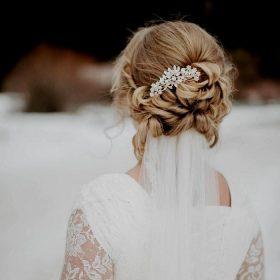 Peigne cheveux mariée fleur cristal, bijoux de tête « Felicia »