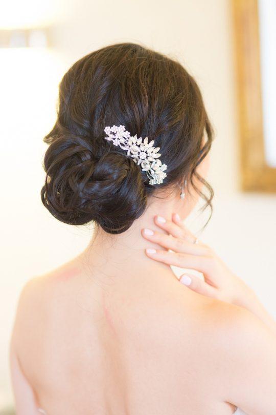 Peigne cheveux mariée fleur cristal bijoux de tête