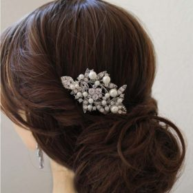 Peigne cheveux perles cristal Swarovski, bijoux mariage Amandine