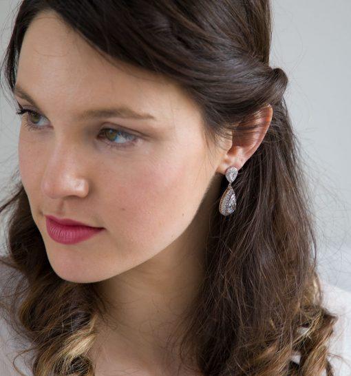 boucles oreilles mariage cristal zircon 3