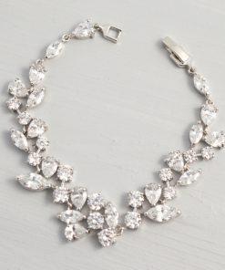 Bracelet original argenté mariage orné oxydes de zirconium